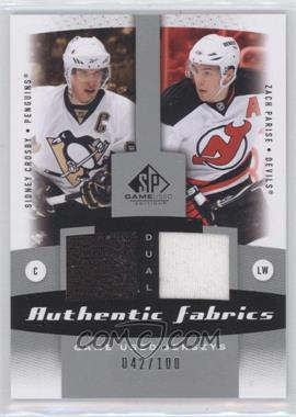 2010-11 SP Game Used Edition - Dual Authentic Fabrics #AF2-SZ - Sidney Crosby, Zach Parise /100