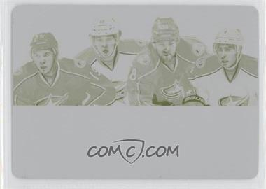 2011-12 Panini Dominion - Quad Jerseys - 2013-14 National Treasures Printing Plate Yellow #7 - Cam Atkinson, David Savard, John Moore, Ryan Johansen /1