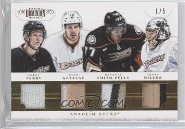 2011-12 Panini Dominion - Quad Jerseys - Prime #1 - Devante Smith-Pelly, Jonas Hiller, Ryan Getzlaf, Corey Perry /5