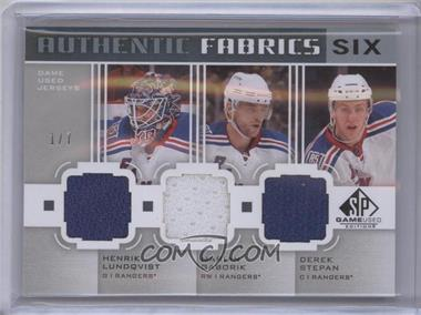2011-12 SP Game Used Edition - Authentic Fabrics Six #AF6NYNY - Henrik Lundqvist, Marian Gaborik, Derek Stepan, John Tavares, Mark Morrison, Kyle Okposo /7