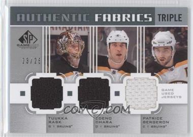 2011-12 SP Game Used Edition - Authentic Fabrics Triple #AF3-BOS - Tuukka Rask, Zdeno Chara, Patrice Bergeron /25
