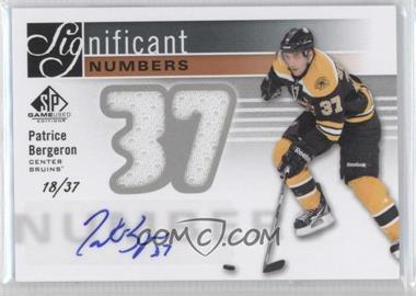 2011-12 SP Game Used Edition - Significant Numbers - [Autographed] #SN-PB - Patrice Bergeron /37
