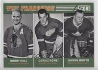 Johnny Bower, Bobby Hull, Gordie Howe