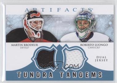 2012-13 Upper Deck Artifacts - Tundra Tandems Dual Jerseys - Blue #TT-BL - Roberto Luongo, Martin Brodeur