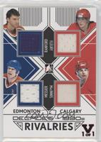 Bill Ranford, Mark Messier, Theoren Fleury, Al MacInnis #/1