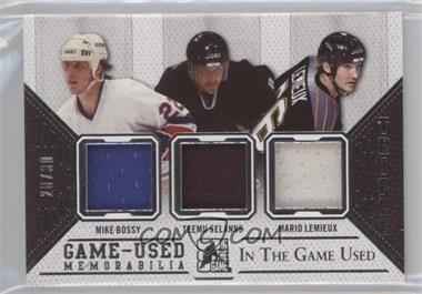 2014-15 In the Game Used - Triple Game Used Jerseys - Silver #GU3J-17 - Mike Bossy, Teemu Selanne, Mario Lemieux /30