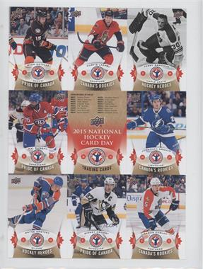 2014-15 Upper Deck National Hockey Card Day Canada - [Base] - Uncut Sheet #NHCD-3-8 - Ryan Getzlaf, Curtis Lazar, Terry Sawchuk, P.K. Subban, Checklist, Jonathan Drouin, Wayne Gretzky, Sidney Crosby, Aaron Ekblad
