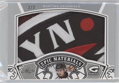 2015-16 Leaf In the Game Genesis - Epic Materials - Silver Patch #EMP-47 - Martins Dzierkals /2
