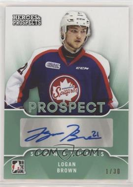 2015-16 Leaf In the Game Heroes & Prospects - Prospect Autographs - Emerald #PS-LB1 - Logan Brown /30