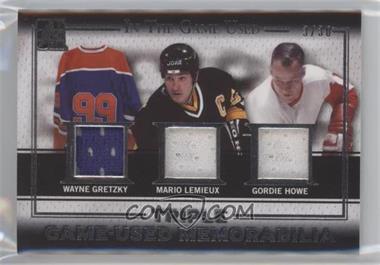 2015-16 Leaf In the Game Used - Game-Used Memorabilia Triple - Silver #GT-05 - Wayne Gretzky, Mario Lemieux, Gordie Howe /30