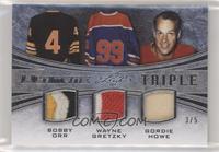 Bobby Orr, Wayne Gretzky, Gordie Howe #/5