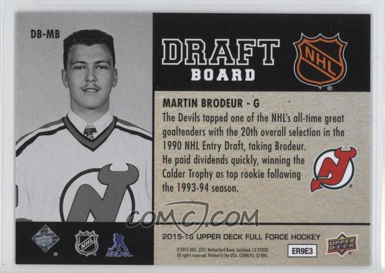 2015 16 Upper Deck Full Force Draft Board Db Mb Martin Brodeur