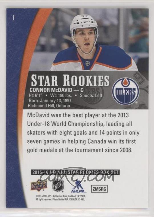 2015 16 Upper Deck Star Rookies Box Set Base 1 Connor