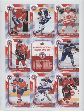 2016 Upper Deck National Hockey Card Day - Canadian Uncut Sheet #CAN 11-7 - Wayne Gretzky, Nicolas Petan, Lanny McDonald, Sean Monahan, Checklist, Robby Fabbri, Connor McDavid, Taylor Hall, Sam Bennett