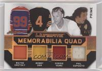 Wayne Gretzky, Bobby Orr, Gordie Howe, Phil Esposito #/6