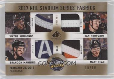 2017-18 Upper Deck SP Game Used - 2017 NHL Stadium Series Fabrics Quad -  Patch  SS4-FLY - Wayne Simmonds 1dc5491e3