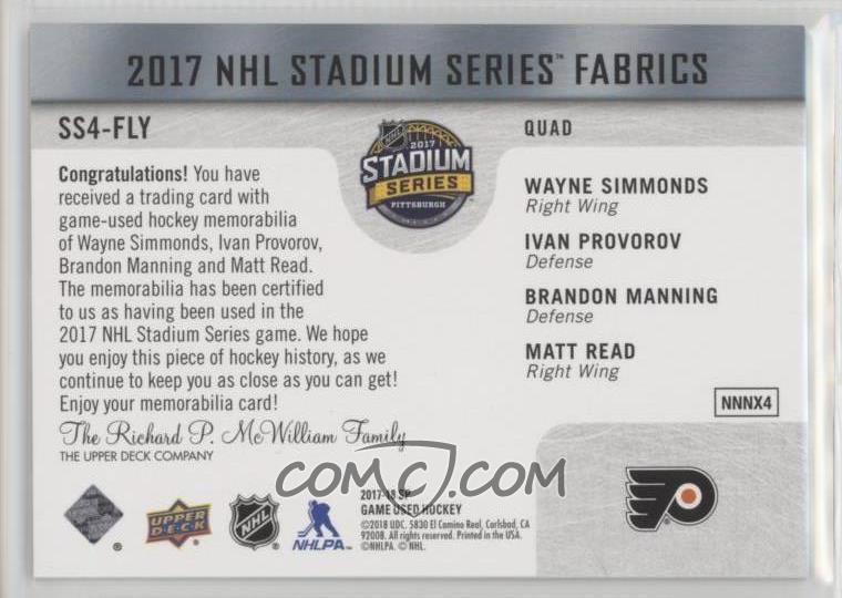 2017-18 Upper Deck SP Game Used - 2017 NHL Stadium Series Fabrics ... 8de410844