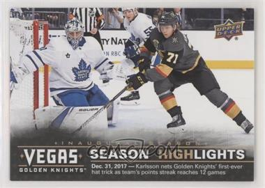 2017-18 Upper Deck Vegas Golden Knights - [Base] #43 - Season Highlights - First Hat Trick: Dec. 31, 2017