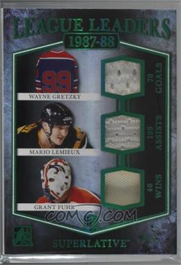 2017 Leaf In the Game Superlative - League Leaders - Green #LL-06 - Wayne Gretzky, Mario Lemieux, Grant Fuhr /7 [Noted]