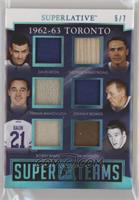 Dave Keon, George Armstrong, Frank Mahovlich, Johnny Bower, Bobby Baun, Tim Hor…