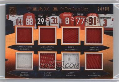 2017 Leaf In the Game Used - Team 8 - Bronze #T8-17 - Marc-Andre Fleury, Brent Burns, Jonathan Toews, Carey Price, Drew Doughty, Jeff Carter, Jason Spezza, Jay Bouwmeester /30