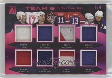 2017 Leaf In the Game Used - Team 8 - Magenta #T8-14 - Brett Hull, Chris Chelios, Tony Amonte, Brian Leetch, Keith Tkachuk, Tom Barrasso, Bill Guerin, Mike Modano /4