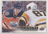 Connor McDavid (Facing off against Sidney Crosby)