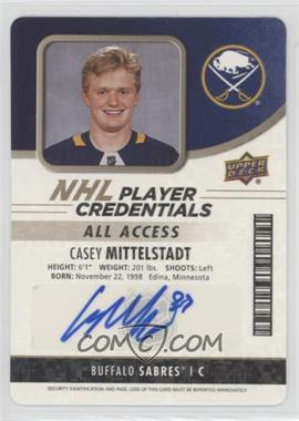 2018-19 Upper Deck MVP - NHL Player Credentials Access - Auto [Autographed] #NHL-MI - Entry Level Acces - Casey Mittelstadt