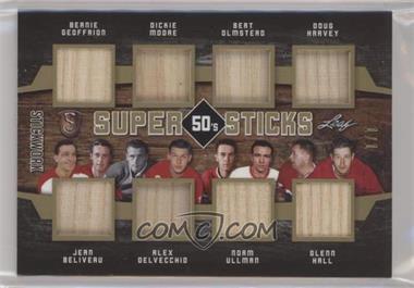 2018 Leaf In the Game Stickwork - Super Sticks Decade - Gold #SSY-01 - Bernie Geoffrion, Dickie Moore, Bert Olmstead, Doug Harvey, Jean Beliveau, Alex Delvecchio, Norm Ullman, Glenn Hall /1