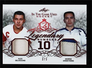 2019-20 Leaf In the Game Used - Legendary Numbers - Green Spectrum #LN-19 - Alex Delvecchio , George Armstrong /3