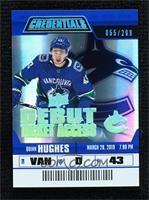 Debut Ticket Access Tier 4 - Quinn Hughes #/299