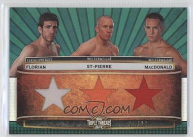2012 Topps UFC Knockout - Triple Threads Combo Relics - Emerald #TTCR-FSM - Kenny Florian, Georges St-Pierre, Rory MacDonald /15