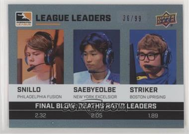 2019 Upper Deck Overwatch League - League Leaders - Electric Skin Variant #LL-2 - snillo, Saebyeolbe, STRIKER /99