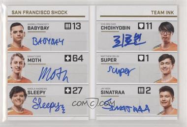 2019 Upper Deck Overwatch League - Team Ink Booklet Achievements #TIB-10 - babybay, moth, sleepy, ChoiHyoBin, super, sinatraa /20