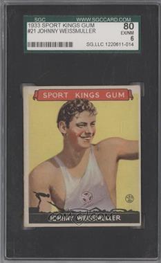 1933 Sport Kings Gum - [Base] #21 - Johnny Weissmuller [SGC80]