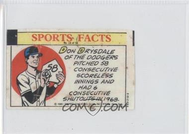 1981 Topps Thirst Break Sports Facts - [Base] #14 - Don Drysdale