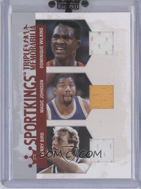 2007 Sportkings Series A - Triple Memorabilia - Silver #TM-9 - Dominique Wilkins, Magic Johnson, Larry Bird