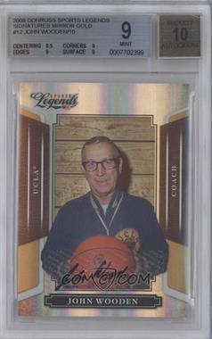2008 Donruss Americana Sports Legends - [Base] - Mirror Gold Signatures [Autographed] #12 - John Wooden /10 [BGS 9]