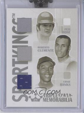2008 Sportkings Series B - Triple Memorabilia - Silver #TM-03 - Pete Rose, Roberto Clemente, Ernie Banks