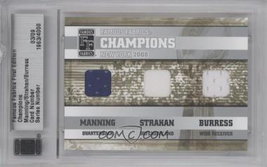 2010 Famous Fabrics First Edition - Champions - Silver #03 - Eli Manning, Michael Strahan, Plaxico Burress /9