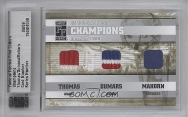 2010 Famous Fabrics First Edition - Champions - Silver #N/A - Isiah Thomas, Joe Dumars, Rick Mahorn /9