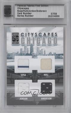 2010 Famous Fabrics First Edition - Cityscapes - Silver #7 - Sammy Sosa, Bobby Hull, Michael Jordan, Neal Anderson /9