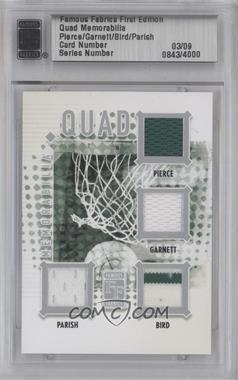 2010 Famous Fabrics First Edition - Quad Memorabilia - Silver #03 - Paul Pierce, Kevin Garnett, Larry Bird, Robert Parish /9