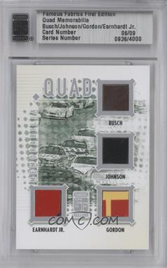 2010 Famous Fabrics First Edition - Quad Memorabilia - Silver #06 - Kyle Busch, Jimmie Johnson, Dale Earnhardt Jr., Jeff Gordon /9