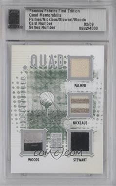 2010 Famous Fabrics First Edition - Quad Memorabilia - Silver #0882 - Arnold Palmer, Jack Nicklaus, Tiger Woods, Payne Stewart /9