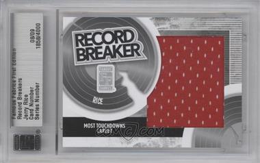 2010 Famous Fabrics First Edition - Record Breakers - Silver #08 - Jerry Rice /9