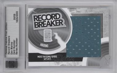 2010 Famous Fabrics First Edition - Record Breakers - Silver #N/A - Dan Marino /9