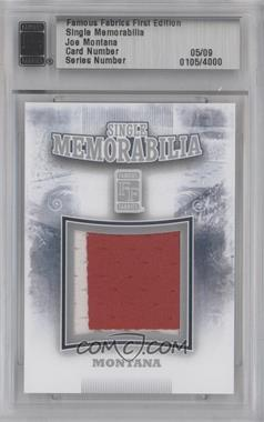 2010 Famous Fabrics First Edition - Single Memorabilia - Silver #0105 - Joe Montana /9