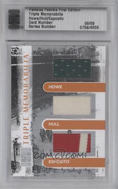 2010 Famous Fabrics First Edition - Triple Memorabilia - Silver #06 - Gordie Howe, Bobby Hughes, Phil Esposito, Bobby Hull /9