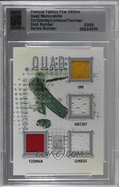 2010 Famous Fabrics Second Edition - Quad Memorabilia - Silver #OGLY - Bobby Orr, Wayne Gretzky, Mario Lemieux, Steve Yzerman /9 [Uncirculated]